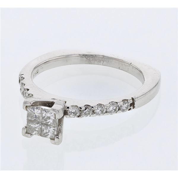 Natural 0.67 CTW Diamond & Princess Diamond Ring Platinum - REF-150K3R