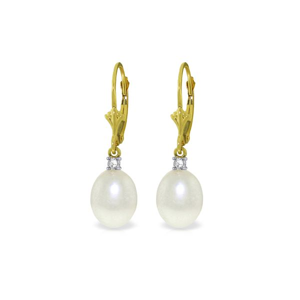 Genuine 8.1 ctw Pearl & Diamond Earrings 14KT Yellow Gold - REF-27M2T