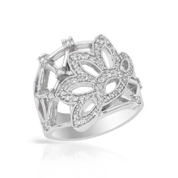 Natural 0.65 CTW Diamond Ring 14K White Gold - REF-98T3X