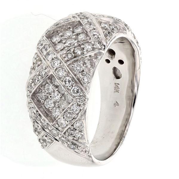 Natural 1.19 CTW Diamond Ring 14K White Gold - REF-171N2Y