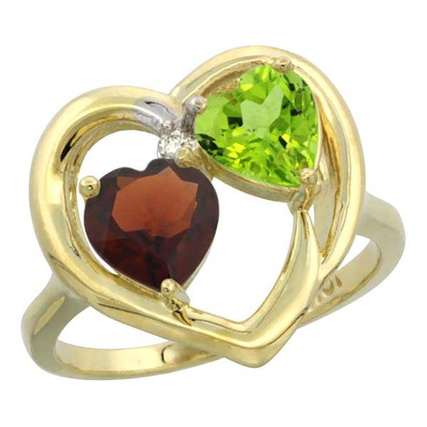 2.61 CTW Diamond, Garnet & Peridot Ring 14K Yellow Gold - REF-33H9M