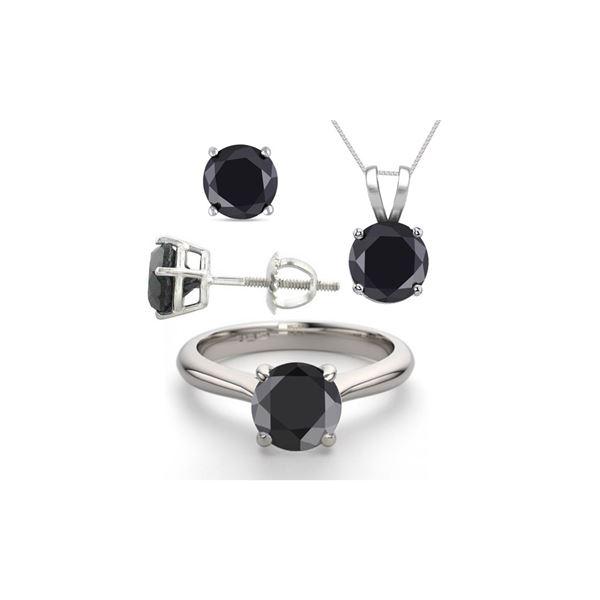 14K White Gold SET 8.0CTW Black Diamond Ring, Earrings, Necklace - REF-597Y2X