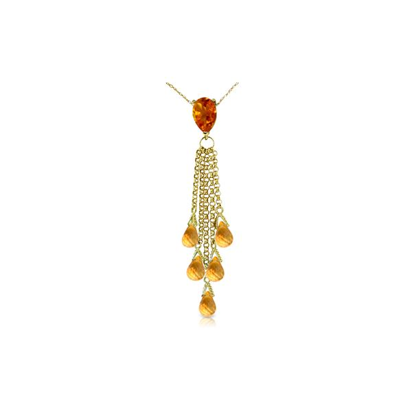 Genuine 7.5 ctw Citrine Necklace 14KT Yellow Gold - REF-32T8A