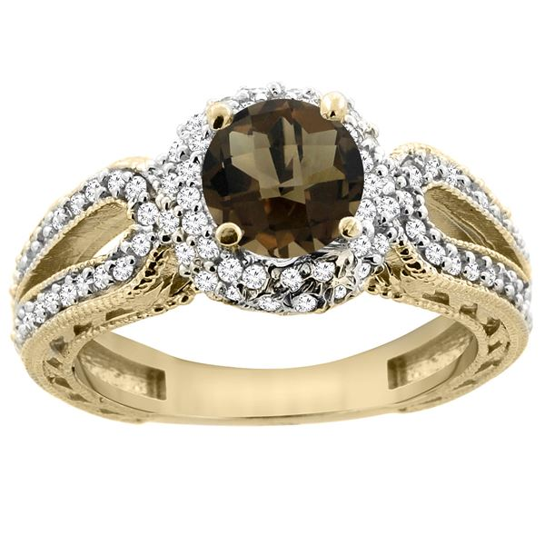 1.50 CTW Quartz & Diamond Ring 14K Yellow Gold - REF-86H9M