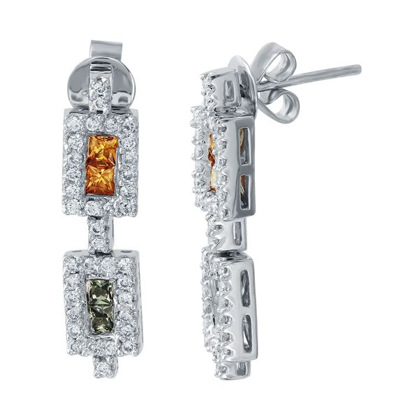 Natural 1.45 CTW Multi-Sapphire & Diamond Earrings 14K White Gold - REF-76F5M