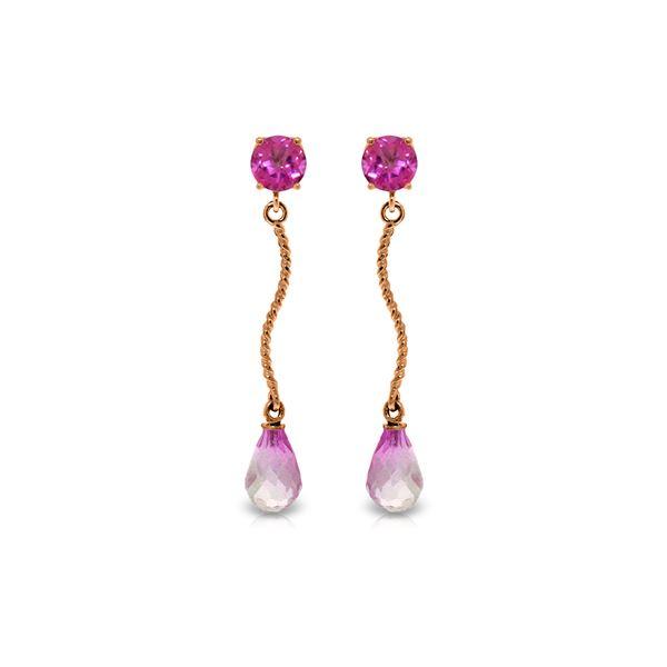 Genuine 4.3 ctw Pink Topaz Earrings 14KT Rose Gold - REF-24K4V