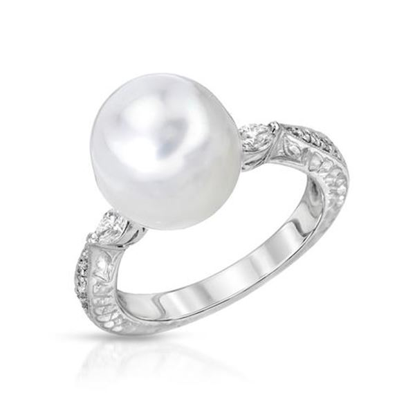 Natural 8.87 CTW Pearl & Marquise Ring 14K White Gold - REF-67W5H