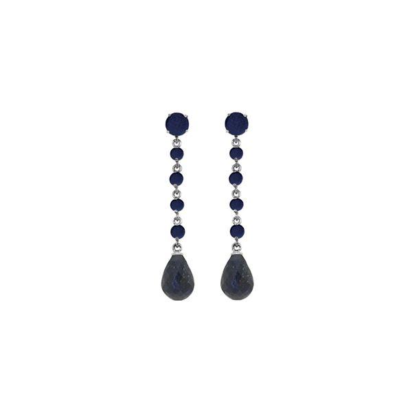 Genuine 31.6 ctw Sapphire Earrings 14KT White Gold - REF-55M2T
