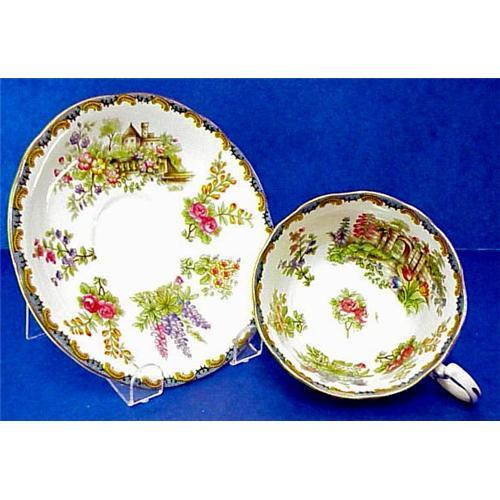 Aynsley Tea Cup Saucer Victorian Flowers 1819528