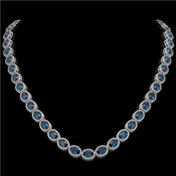 33.25 ctw London Topaz & Diamond Micro Pave Halo Necklace 10k White Gold - REF-600G2W