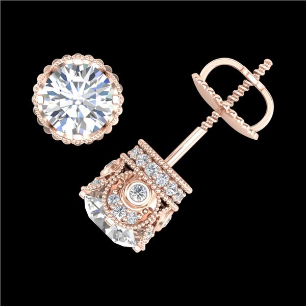 1.85 ctw VS/SI Diamond Solitaire Art Deco Stud Earrings 18k Rose Gold - REF-261H8R
