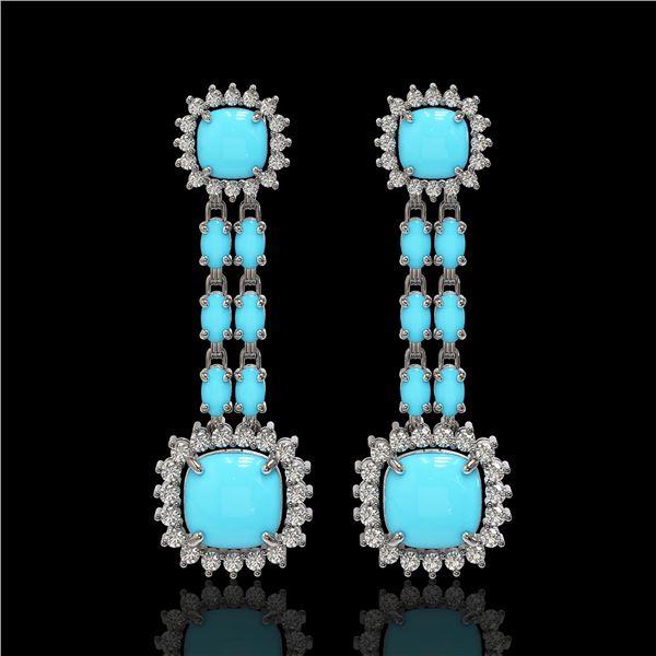 16.04 ctw Turquoise & Diamond Earrings 14K White Gold - REF-225M3G