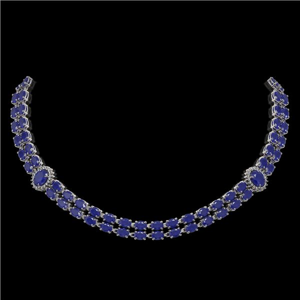 43.13 ctw Sapphire & Diamond Necklace 14K White Gold - REF-527R3K