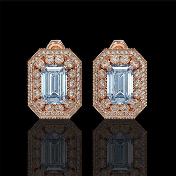 10.91 ctw Aquamarine & Diamond Victorian Earrings 14K Rose Gold - REF-327Y3X