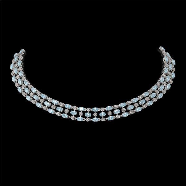 61.73 ctw Sky Topaz & Diamond Necklace 10K White Gold - REF-527N3F