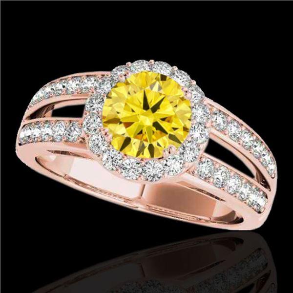 1.6 ctw Certified SI/I Fancy Intense Yellow Diamond Ring 10k Rose Gold - REF-214N3F