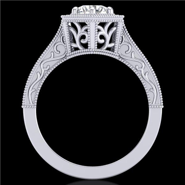0.77 ctw VS/SI Diamond Art Deco Ring 18k White Gold - REF-172G8W