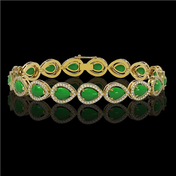 13.19 ctw Jade & Diamond Micro Pave Halo Bracelet 10k Yellow Gold - REF-305R8K