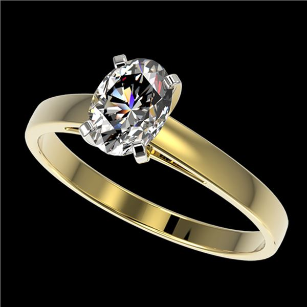 1 ctw Certified VS/SI Quality Oval Diamond Solitaire Ring 10k Yellow Gold - REF-243G2W