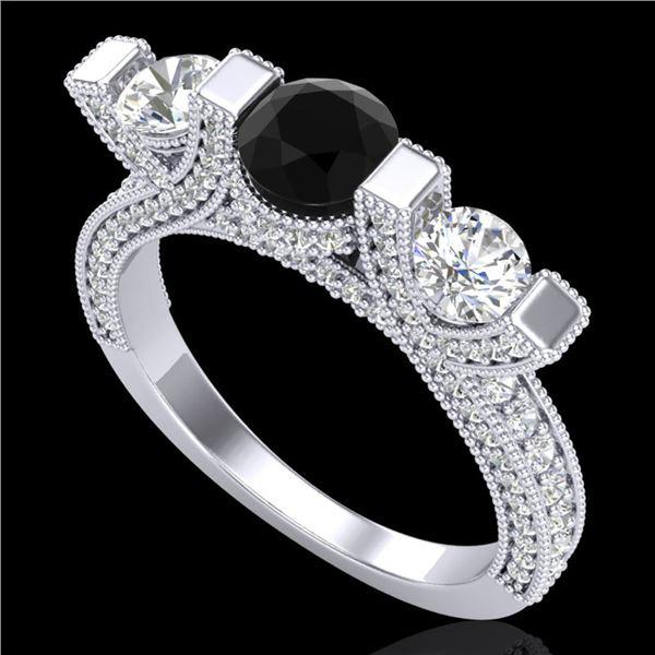 2.3 ctw Fancy Black Diamond Micro Pave 3 Stone Ring 18k White Gold - REF-200M2G