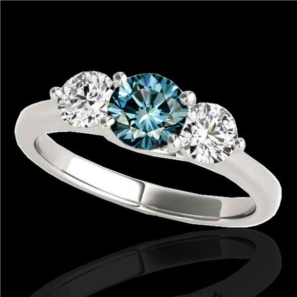 2 ctw SI Certified Fancy Blue Diamond 3 Stone Ring 10k White Gold - REF-211K4Y