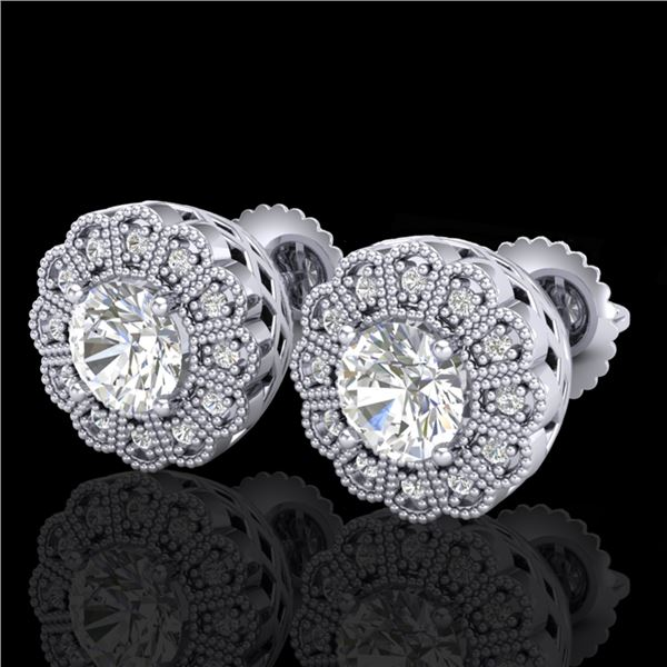1.32 ctw VS/SI Diamond Solitaire Art Deco Stud Earrings 18k White Gold - REF-245X5A