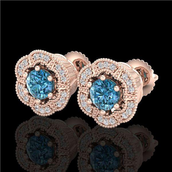 1.51 ctw Fancy Intense Blue Diamond Art Deco Earrings 18k Rose Gold - REF-178A2N