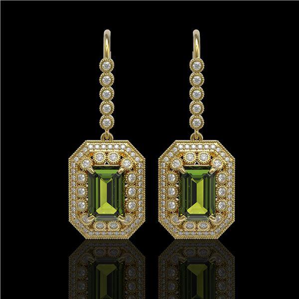13.4 ctw Tourmaline & Diamond Victorian Earrings 14K Yellow Gold - REF-375F3M
