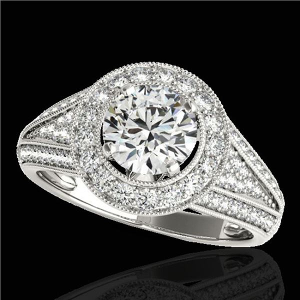 2.17 ctw Certified Diamond Solitaire Halo Ring 10k White Gold - REF-340Y9X