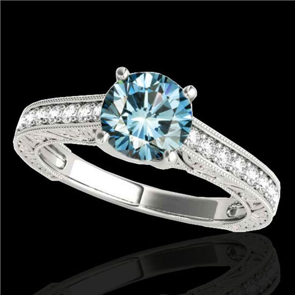 1.82 ctw SI Certified Fancy Blue Diamond Solitaire Ring 10k White Gold - REF-190W9H