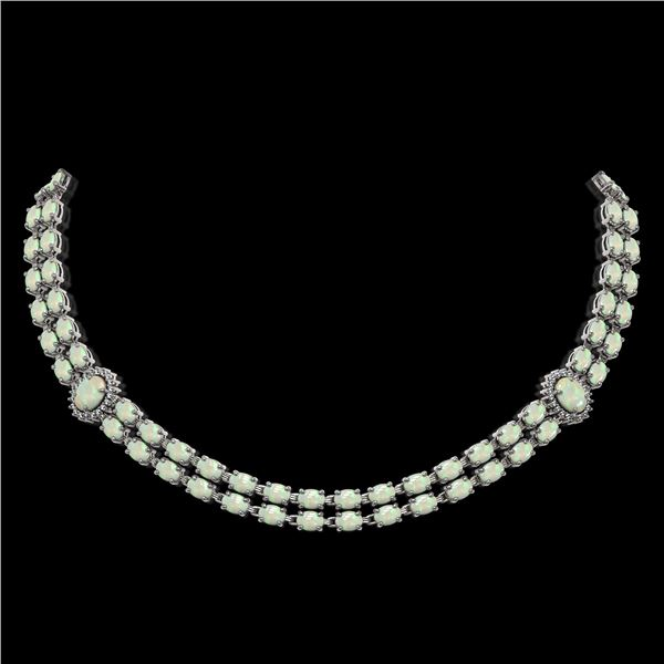 30.05 ctw Opal & Diamond Necklace 14K White Gold - REF-527X3A