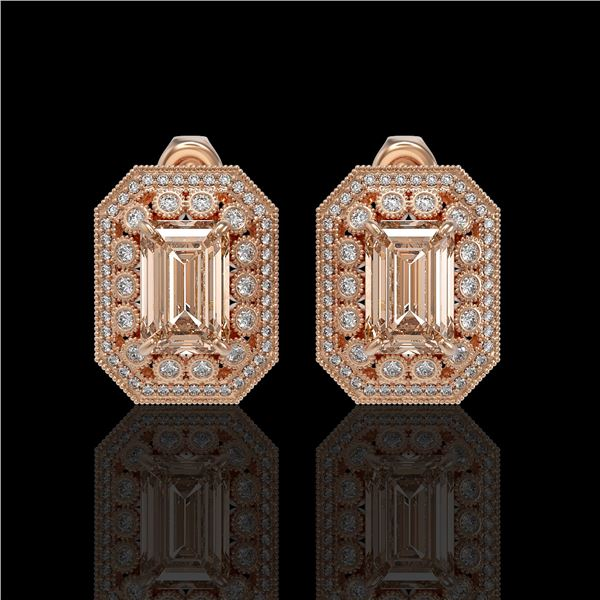 11.69 ctw Morganite & Diamond Victorian Earrings 14K Rose Gold - REF-381X5A