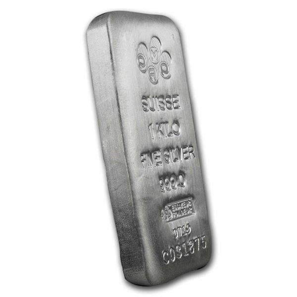 One piece 1 kilo 0.999 Fine Silver Bar PAMP Suisse - 196344