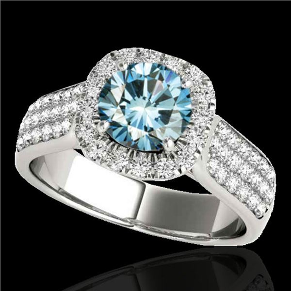 1.8 ctw SI Certified Fancy Blue Diamond Solitaire Halo Ring 10k White Gold - REF-135X2A