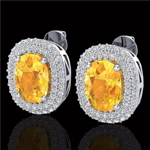 6 ctw Citrine & Micro Pave VS/SI Diamond Earrings 14k White Gold - REF-118X2A