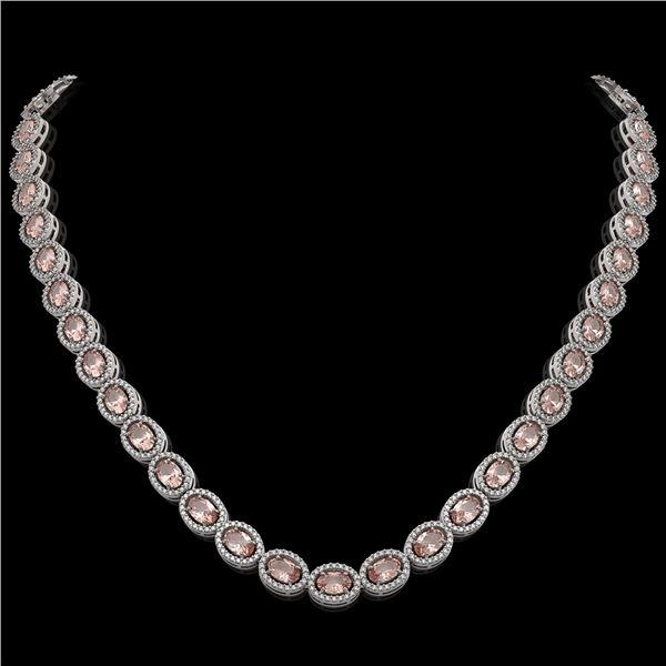 31.96 ctw Morganite & Diamond Micro Pave Halo Necklace 10k White Gold - REF-672W8H
