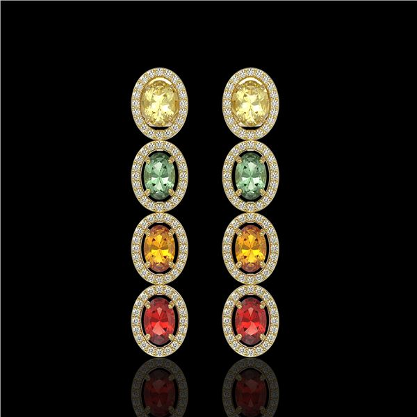 6.09 ctw Multi Color Sapphire & Diamond Micro Pave Earrings 10k Yellow Gold - REF-143K6Y