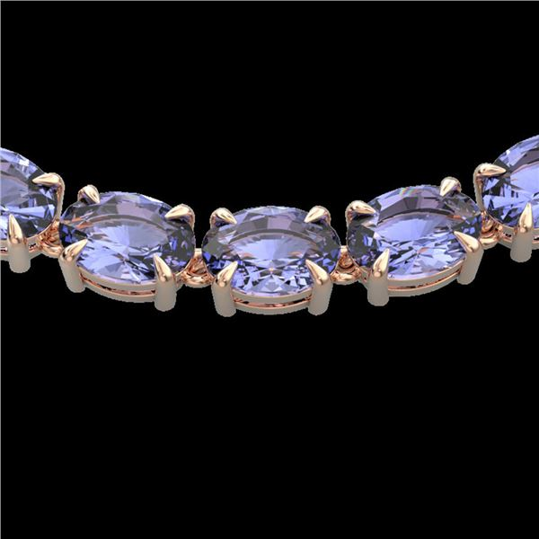 56 ctw Tanzanite Eternity Designer Necklace 14k Rose Gold - REF-581H8R