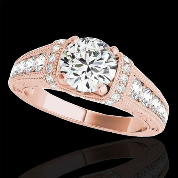 1.5 ctw Certified Diamond Solitaire Antique Ring 10k Rose Gold - REF-211Y4X