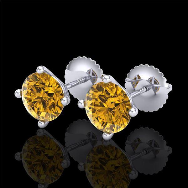 2 ctw Intense Fancy Yellow Diamond Art Deco Earrings 18k White Gold - REF-354N5F