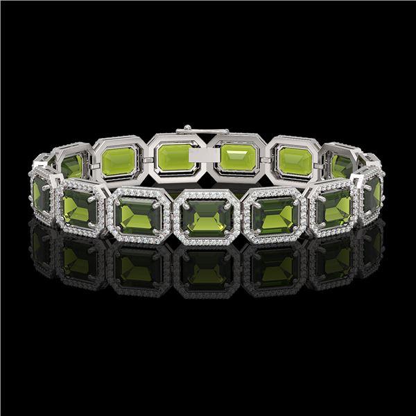 36.51 ctw Tourmaline & Diamond Micro Pave Halo Bracelet 10k White Gold - REF-477N3F