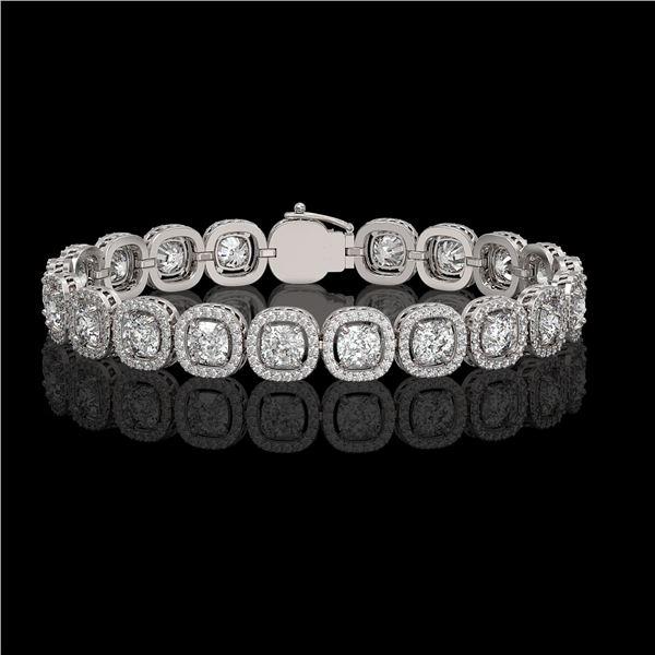 14.41 ctw Cushion Cut Diamond Micro Pave Bracelet 18K White Gold - REF-1976K8Y