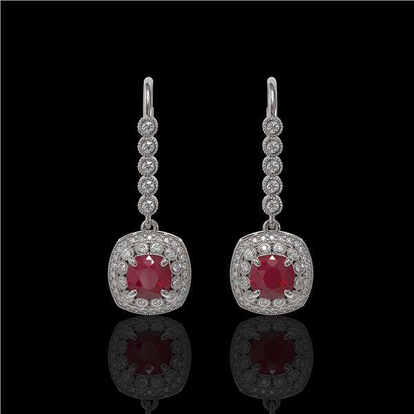 5.1 ctw Certified Ruby & Diamond Victorian Earrings 14K White Gold - REF-172R8K