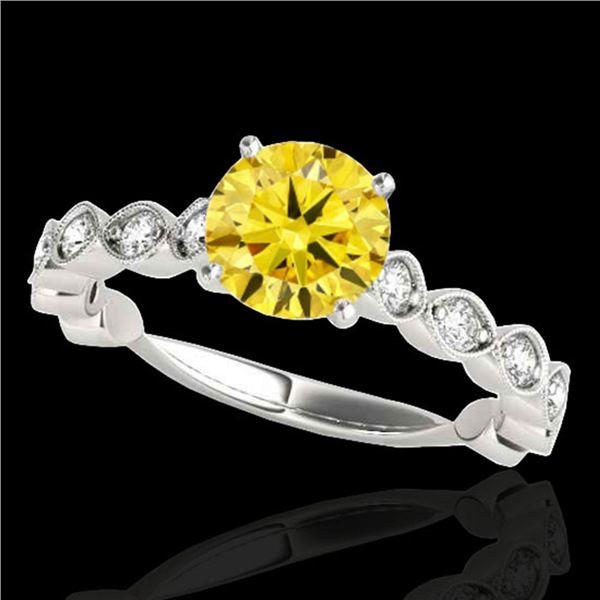 1.5 ctw Certified SI/I Fancy Intense Yellow Diamond Ring 10k White Gold - REF-196G4W