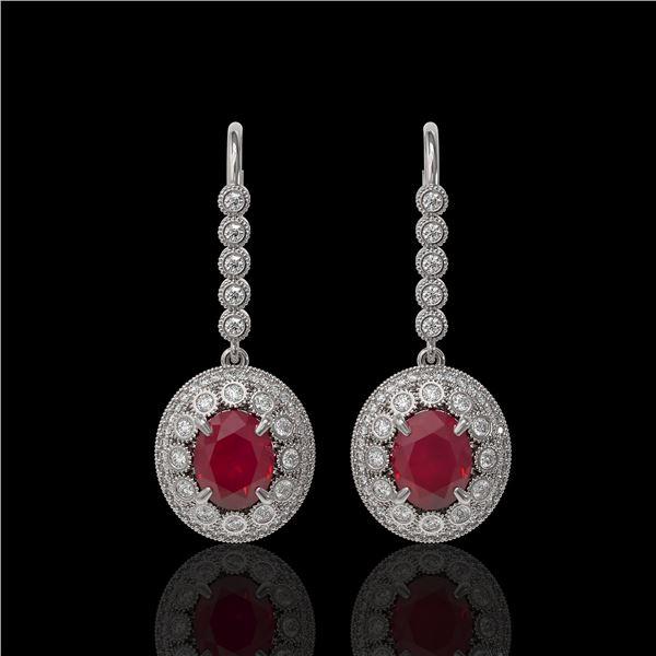 9.25 ctw Certified Ruby & Diamond Victorian Earrings 14K White Gold - REF-249F6M