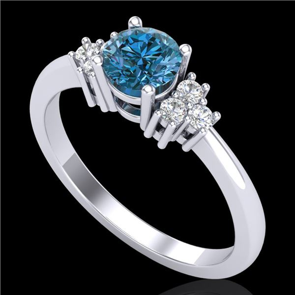 0.75 ctw Fancy Intense Blue Diamond Engagment Ring 18k White Gold - REF-89F3M