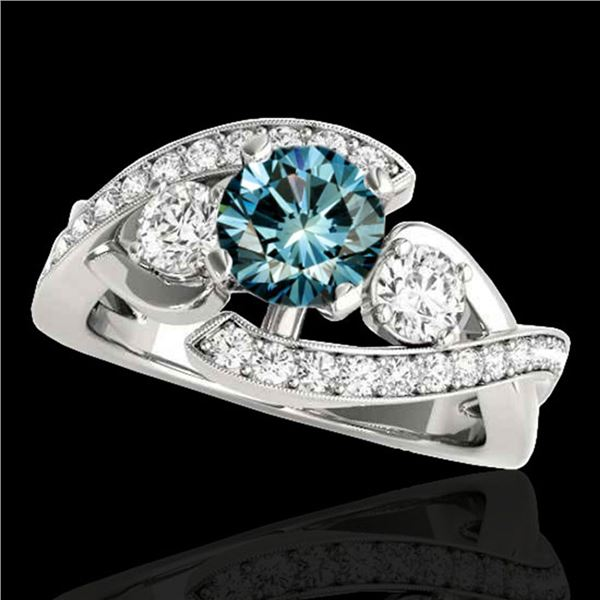 1.76 ctw SI Certified Fancy Blue Diamond Bypass Ring 10k White Gold - REF-170M5G