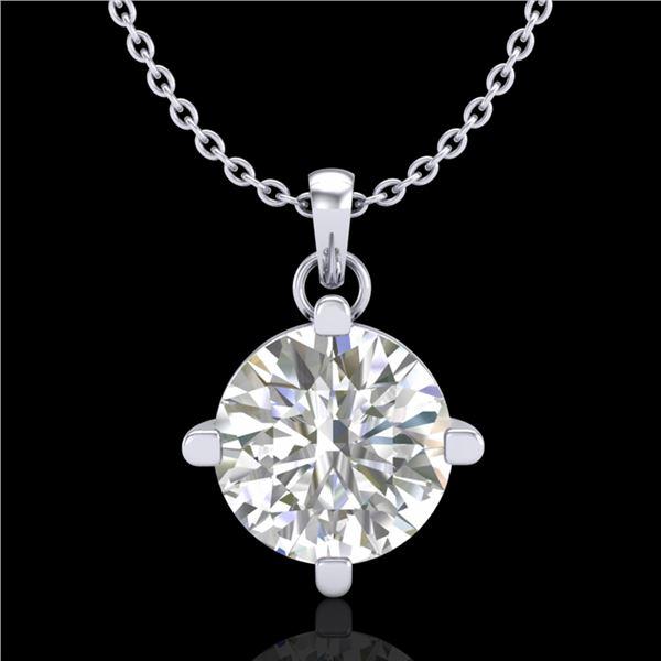 1 ctw VS/SI Diamond Solitaire Art Deco Stud Necklace 18k White Gold - REF-345N5F