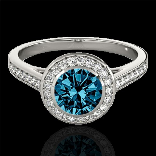 1.3 ctw SI Certified Fancy Blue Diamond Solitaire Halo Ring 10k White Gold - REF-126Y3X