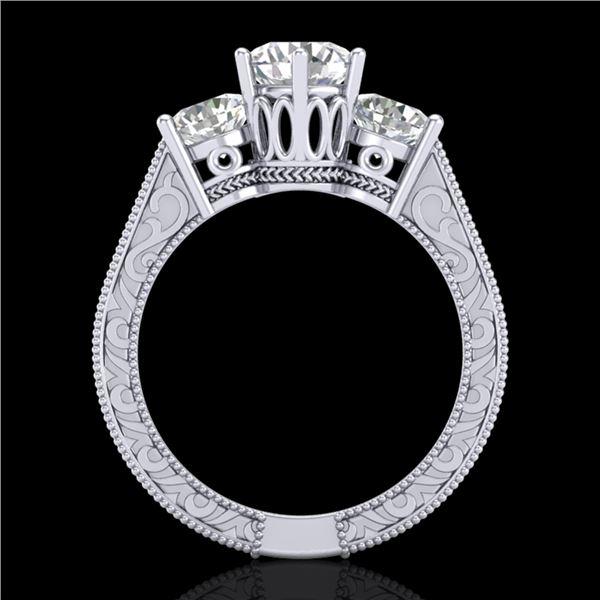 2.01 ctw VS/SI Diamond Solitaire Art Deco 3 Stone Ring 18k White Gold - REF-527H3R
